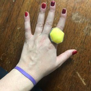 🌺🍒🌺🍒🌺🍒Yellow green oversized ring